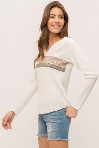 Thermal Leopard Print Raglan Top