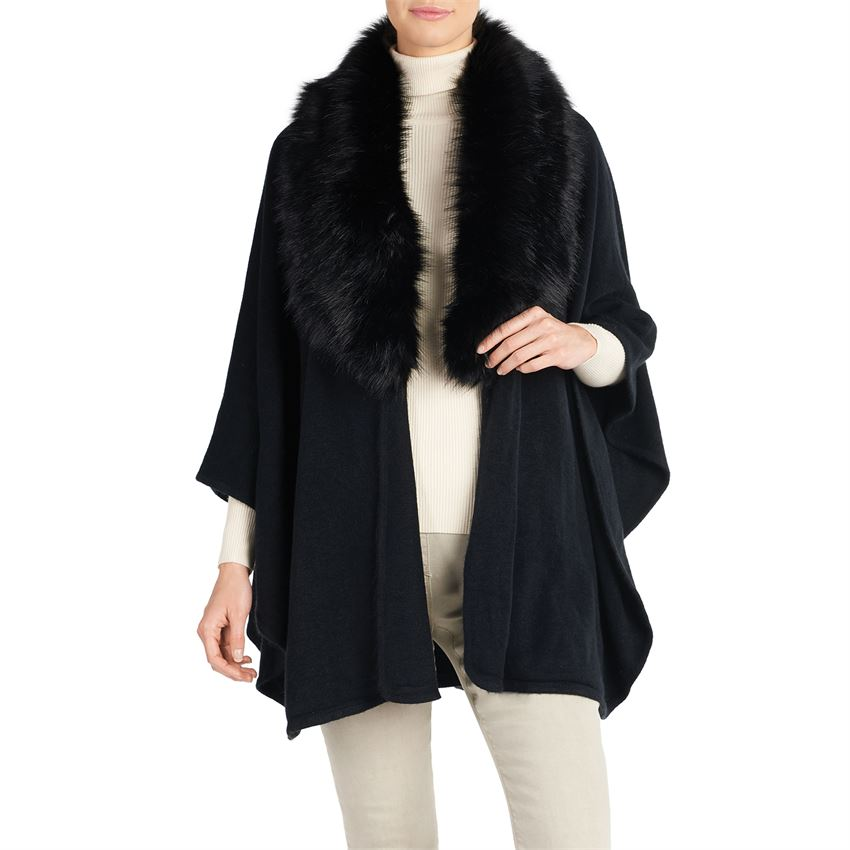 Quebec Faux Fur Ruana - Black