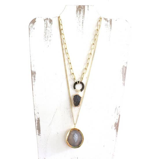 Layered Gold Necklace w/Natural Stone Accent