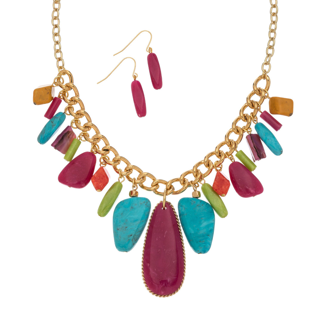 Bright Teardrop Necklace Set - Multi