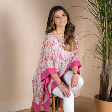 Load image into Gallery viewer, Fuchsia Floral Sheer Poncho