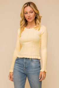 Lettuce Frill Edge Detail Sweater Top