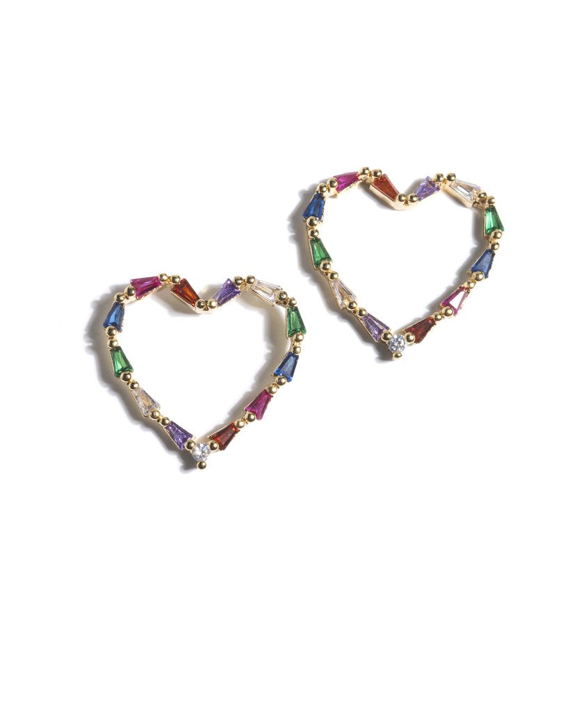 Multi Colored Heart Crystal Earring