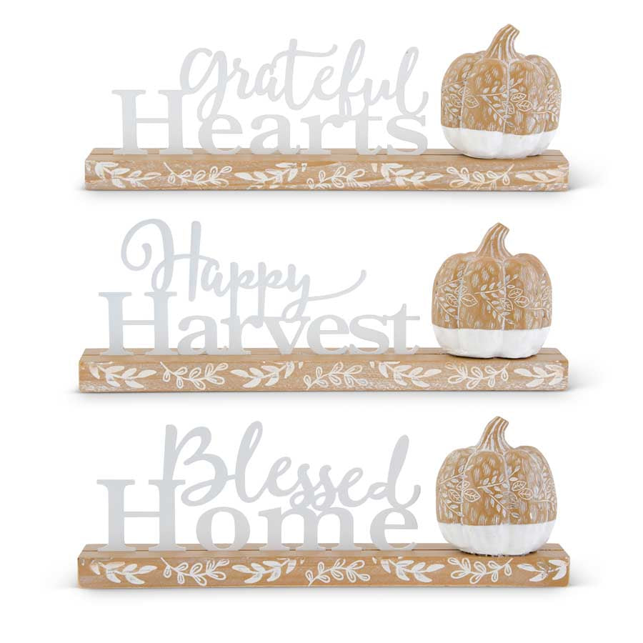 Enamel and Wood Inspirational Harvest Cutout Tabletop Sign