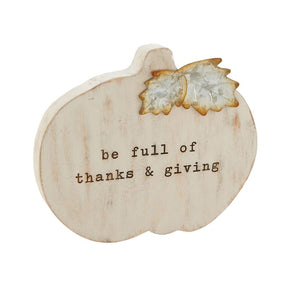Gray Wood Pumpkin Plaque