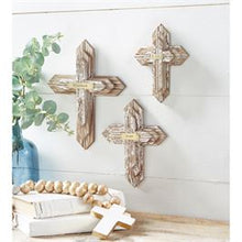 Load image into Gallery viewer, Blessed Distressed Wood Cross