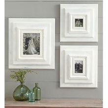 "Load image into Gallery viewer, 13"" Square White-Washed Wooden Wall Frame"