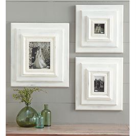 "13"" Square White-Washed Wooden Wall Frame"
