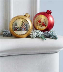 LED Lighted Musical Snow Globe Cardinals Ornament