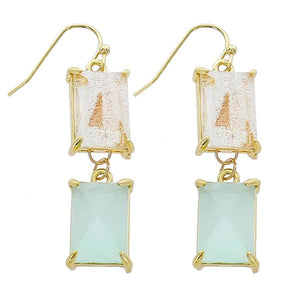 Gold Hook 2 Drop Rectangle Earring - Glitter Quartz & Mint