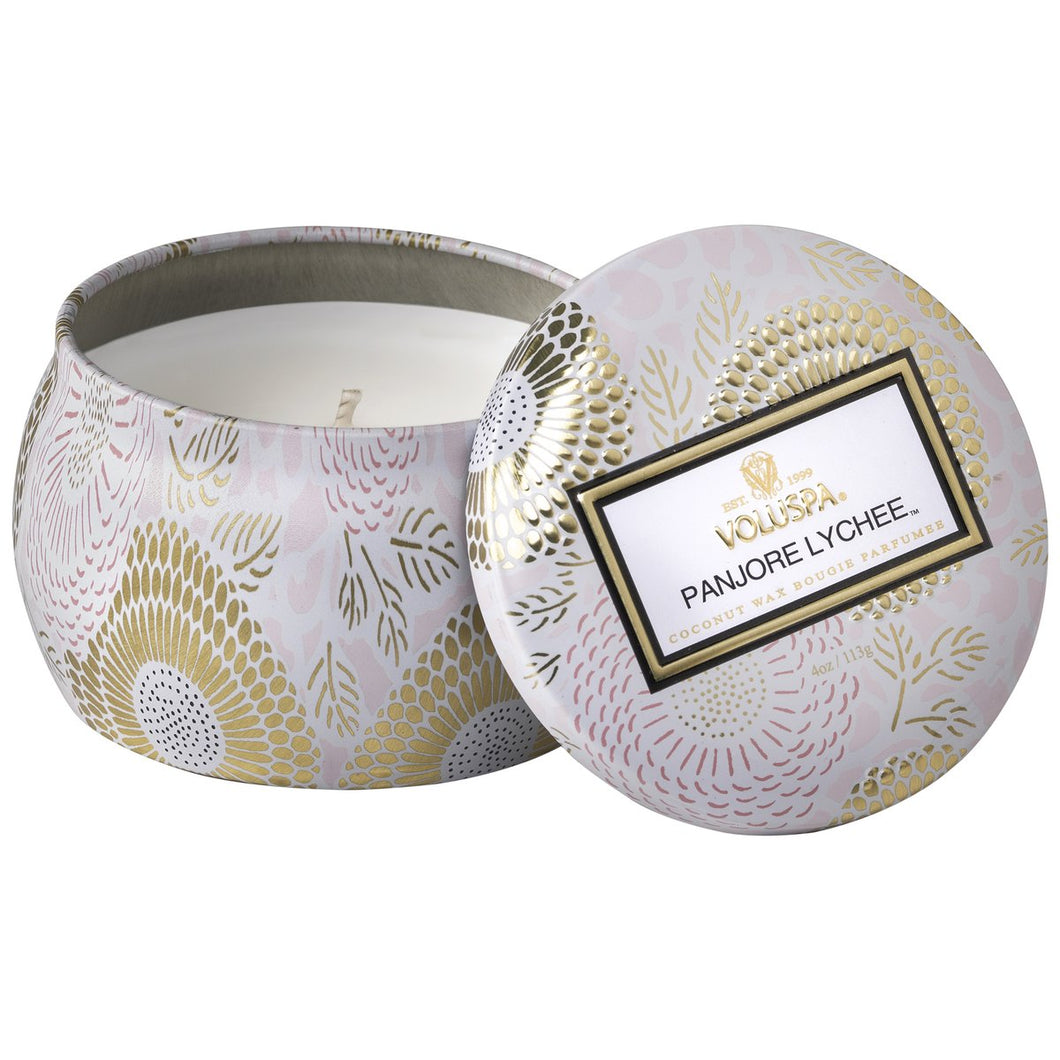 Panjore Lychee Mini Decorative Tin Voluspa Candle