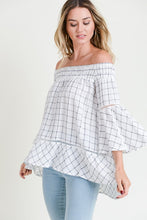 Load image into Gallery viewer, Plaid Smocked Off Shoulder High Low Tunic