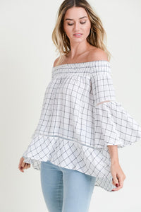 Plaid Smocked Off Shoulder High Low Tunic