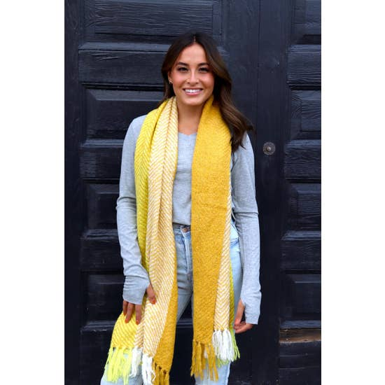 Soft long Plaid Scarf w/Fringe