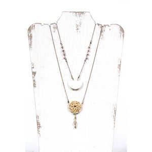 Long Necklace with Wicker & Acrylic Accents