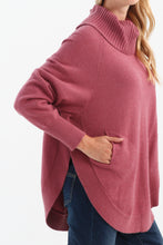 Load image into Gallery viewer, Round Hem Turtleneck Raglan Sweater