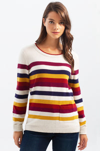 Striped Sweater w/Patch Pocket