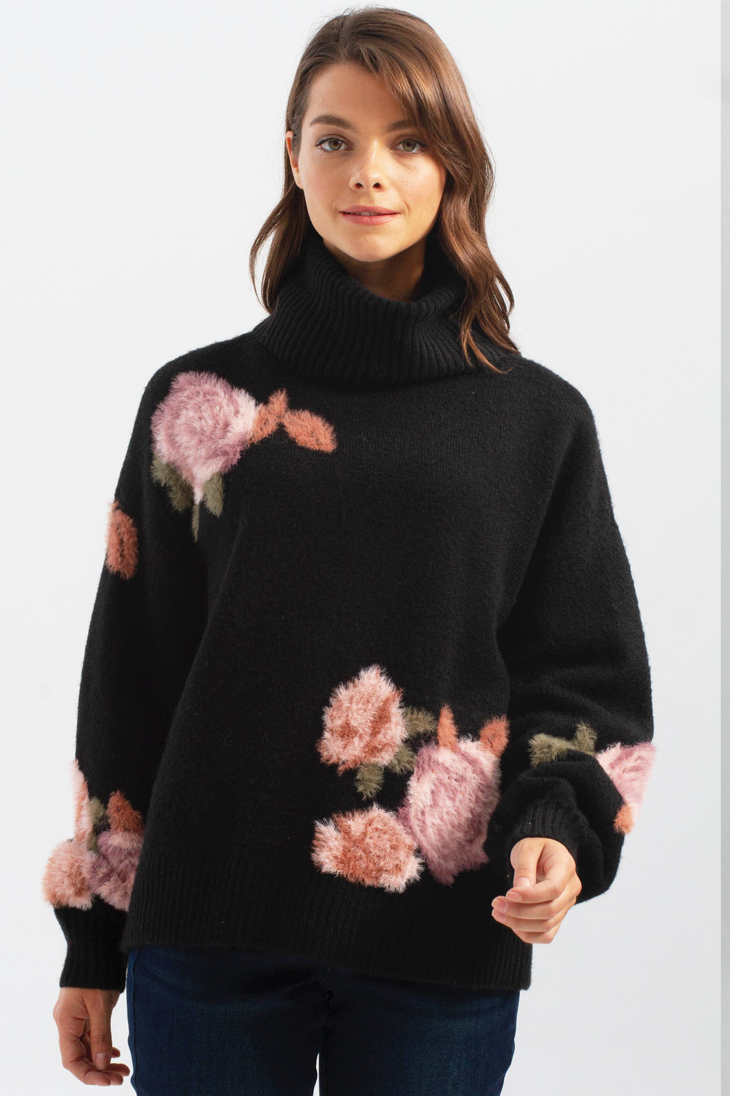 Printed Flowers Turtleneck Sweater