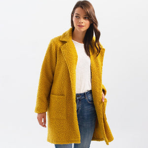 Boucle Knit Tailored Collar Coat