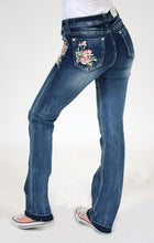 Load image into Gallery viewer, Floral Embroidered Boot Cut Jeans