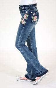 Floral Embroidered Boot Cut Jeans