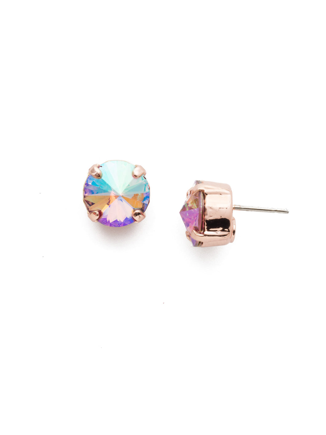 Round Crystal Stud Earring - Lavender
