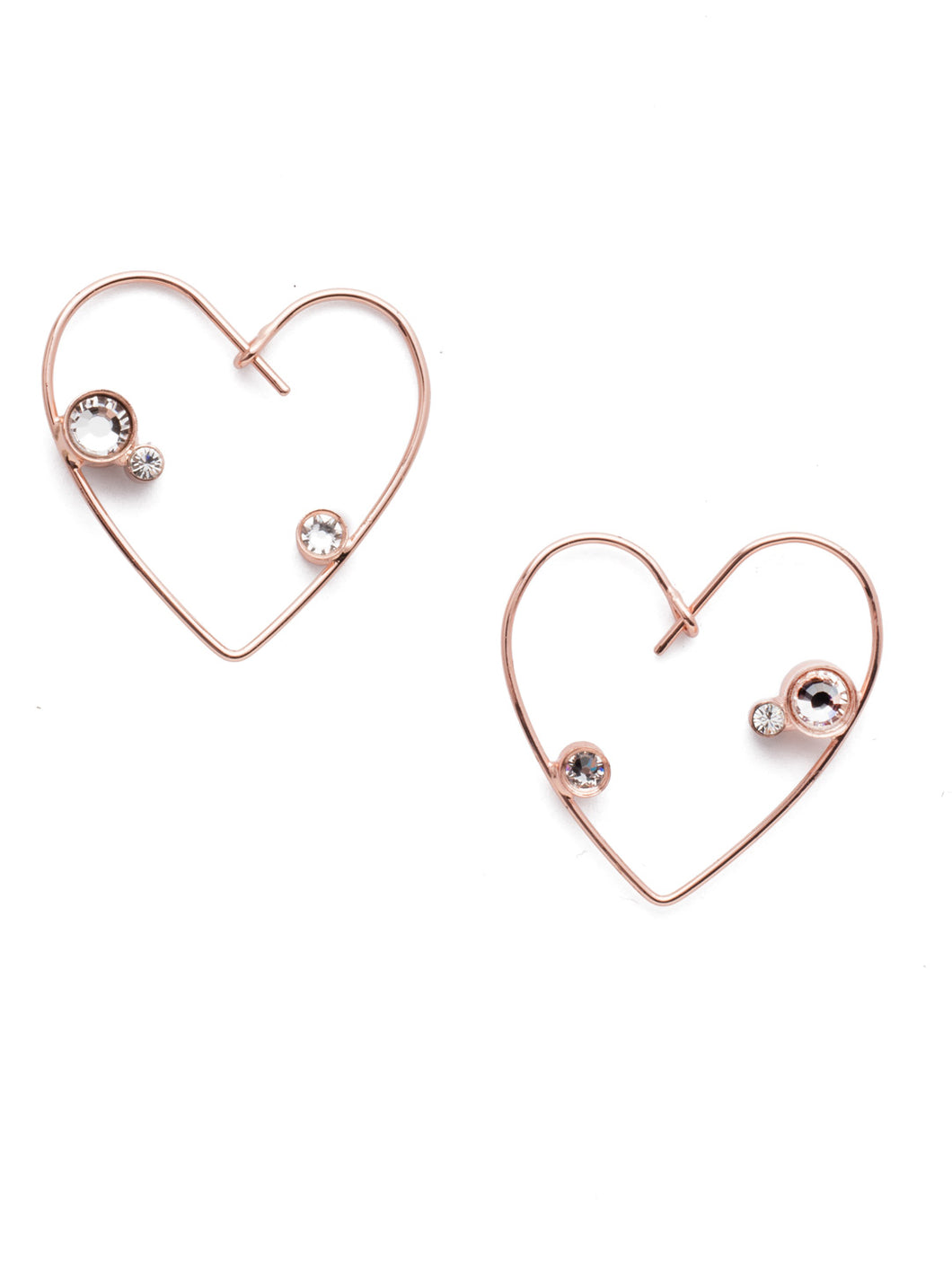 Wire Heart Earrings w/Crystal Accents