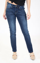 Load image into Gallery viewer, Blue Medium Wash Knit Denim Mid Rise Skinny Jeans