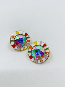 AB Stone Fashion Earring - Multi colored
