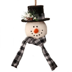 Country Check Snowman Head w/Hat Ornament