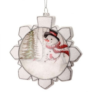 "6"" Glass Snowman in Snowflake Ornament"