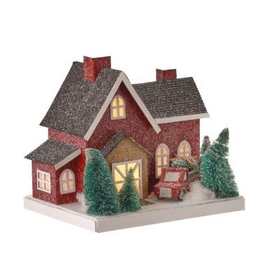 Cardboard LED Bty/Tmr Country House w/ Truck