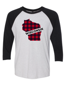 WI Vintage Black/Heather White Baseball Tee