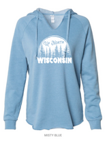 Load image into Gallery viewer, Up North WI V-Neck Hooded Sweatshirt