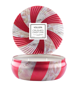 Crushed Candy Cane 3 wick Candle in decorative tin