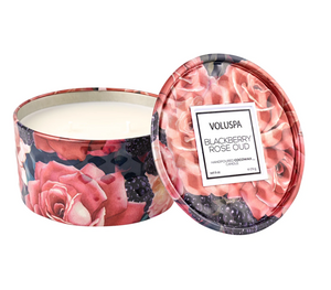 6 oz Blackberry Rose Embossed Tin Candle