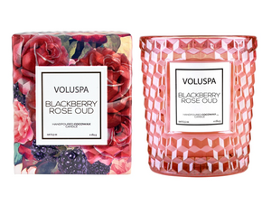 Blackberry Rose 6.5 oz Boxed Texture Glass Candle