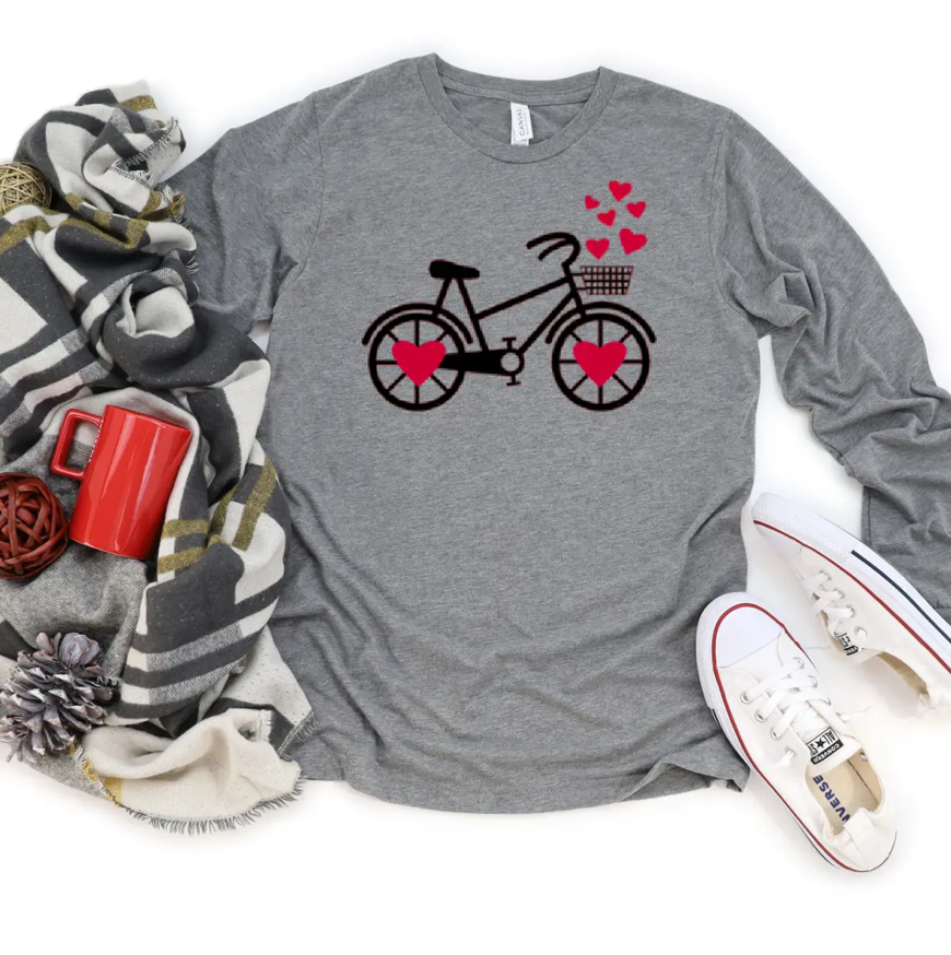 Bicycle Valentine's Graphic Long Sleeve Tee
