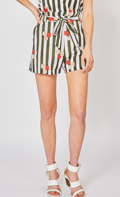 Striped Geometric Print Paperbag Shorts