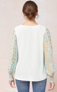 Off-White Top with Floral Print Sleeves