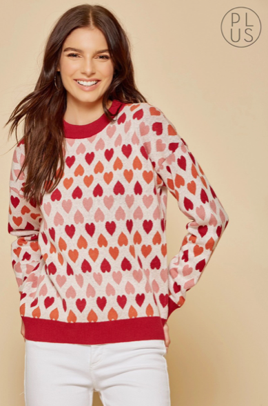 Plus Size Heart Design Sweater