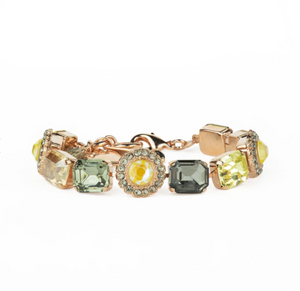 "Emerald Cut Cluster Bracelet in ""Painted Lady"" in Rose Gold"