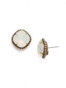 White Opal Cushion-Cut Solitaire Stud Earrings