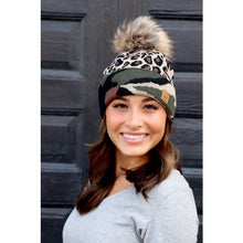 Load image into Gallery viewer, Camo & Leopard Hat with Pom