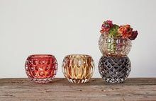 "Load image into Gallery viewer, 5-1/4"" Round x 4-1/4""H Pressed Glass Votive Holder, 4 Styles"