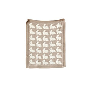 "32""L x 40""W Cotton Knit Blanket w/ Rabbits, Taupe"