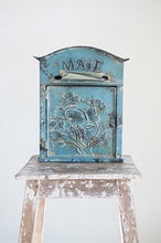 "Load image into Gallery viewer, Embossed Tin ""Mail"" Box, Distressed Blue"