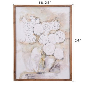"18""L x 24""H Wood Framed Wall Decor w/ Flowers in Vase"