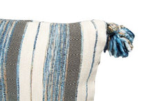 "Load image into Gallery viewer, 36""L x 16""H Woven Cotton & Wool Striped Lumbar Pillow w/ Tassels, Blue, Grey & Cream Color"