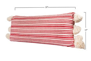 "36""L x 16""H Cotton & Chenille Woven Striped Lumbar Pillow w/ Tassels, Red"